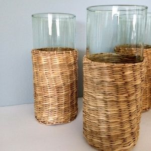 Vintage Straw Wicker Glassware Cup Set of 4